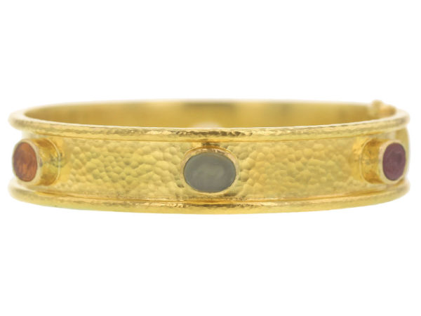 "Elizabeth Locke Neutral Fall Venetian Glass Intaglio ""Micro Horse"" Narrow Bangle Bracelet thumbnail"