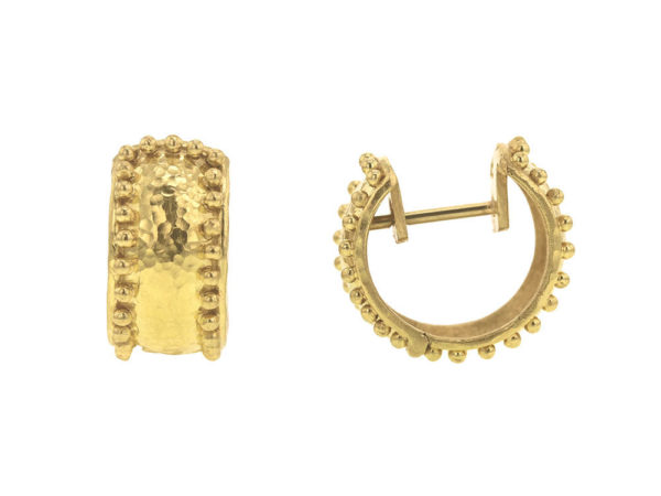 Elizabeth Locke Curved Wide Hoop Earrings With Granulation thumbnail