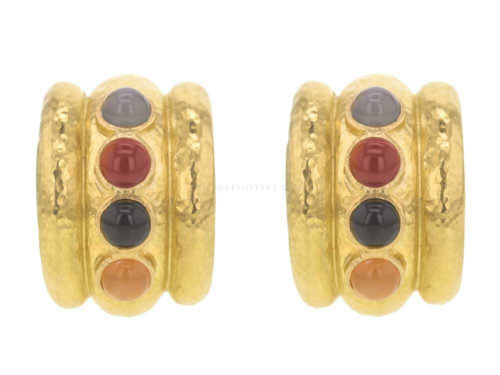 "Elizabeth Locke Neutral Studded Stone Amalfi ""Tutti Frutti"" Wide Hoop Earrings"