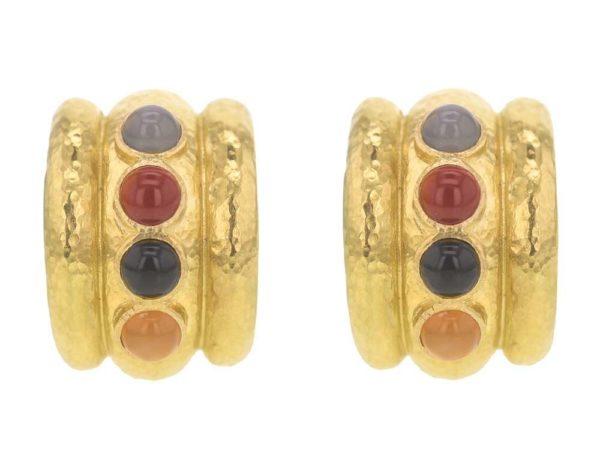 """Elizabeth Locke Neutral Studded Stone Amalfi """"Tutti Frutti"""" Wide Hoop Earrings thumbnail"""