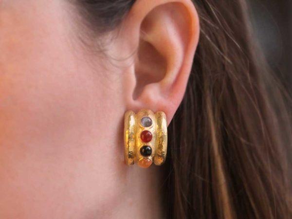 """Elizabeth Locke Neutral Studded Stone Amalfi """"Tutti Frutti"""" Wide Hoop Earrings"""