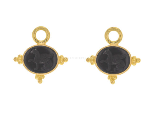 "Elizabeth Locke Venetian Glass Intaglio ""Grifo"" With Three Gold Triads On Thin Bezel Earring Charms"