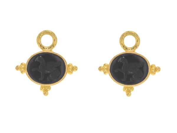 "Elizabeth Locke Venetian Glass Intaglio ""Grifo"" Earring Charms With Three Gold Triads On Thin Bezel thumbnail"