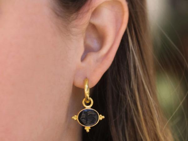 "Elizabeth Locke Venetian Glass Intaglio ""Grifo"" Earring Charms With Three Gold Triads On Thin Bezel"