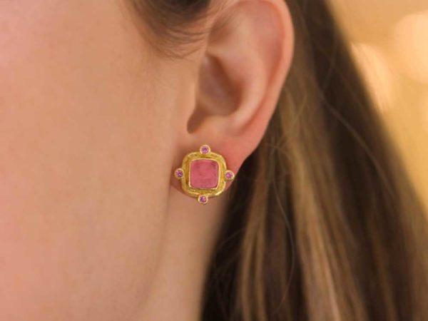 "Elizabeth Locke Pink Venetian Glass Intaglio ""Quadrato Antico"" & Pink Sapphire Post Earrings"