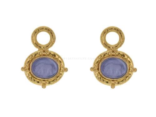 "Elizabeth Locke Cerulean Venetian Glass Intaglio ""Micro Horse"" Earring Charms"
