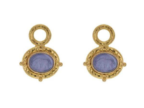 "Elizabeth Locke Cerulean Venetian Glass Intaglio ""Micro Horse"" Earring Charms thumbnail"