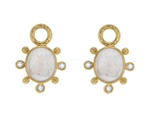 "Elizabeth Locke Crystal Venetian Glass Intaglio ""Mosca"" Earring Charms With Faceted Crystal"