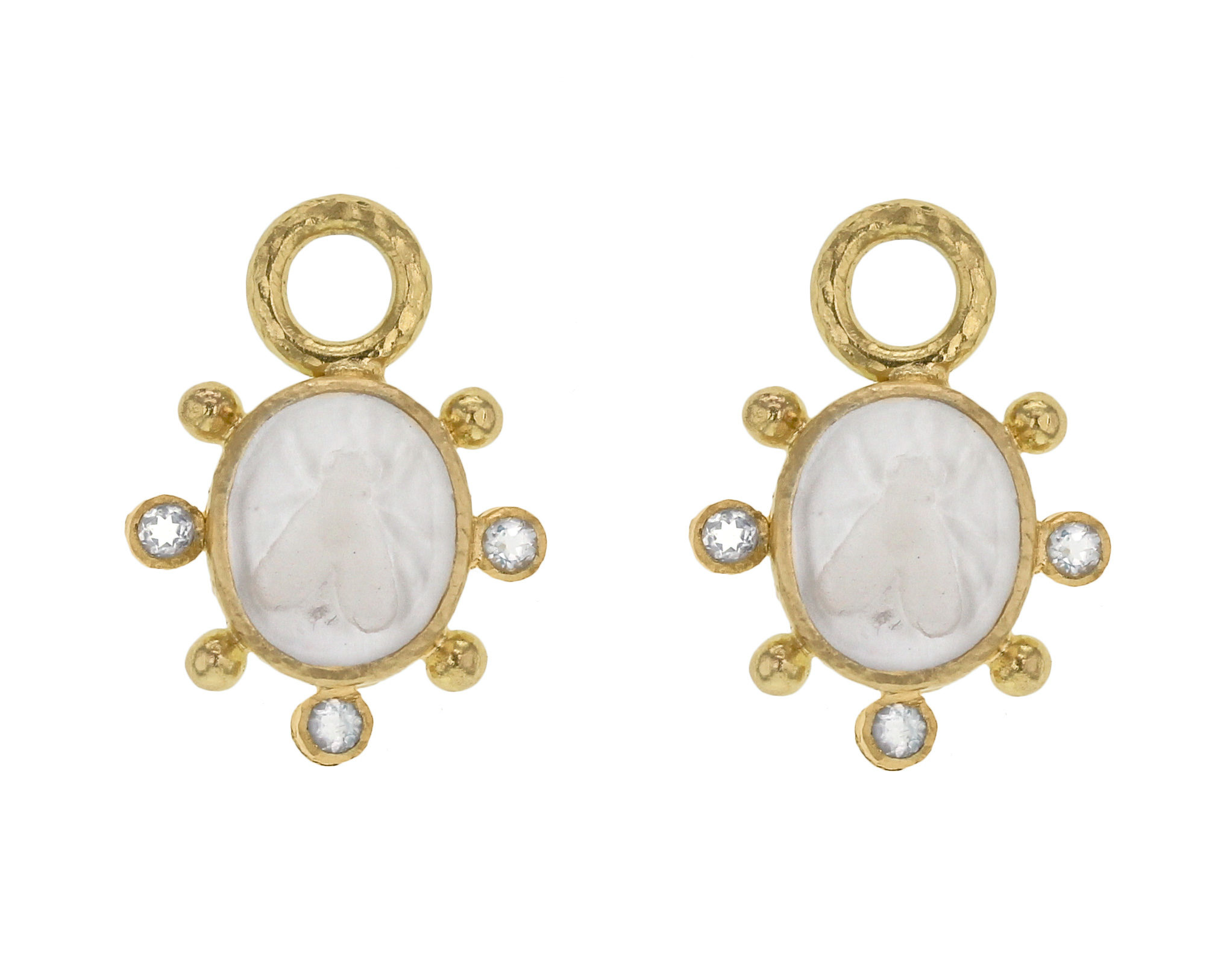 "Elizabeth Locke Crystal Venetian Glass Intaglio ""Mosca"" Earring Charms With Faceted Crystal thumbnail"