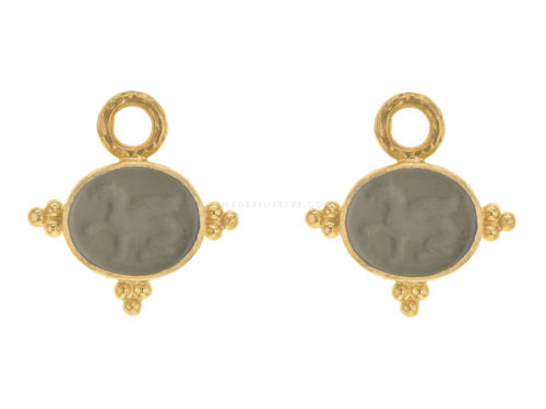 "Elizabeth Locke Smoke Venetian Glass Intaglio ""Grifo"" With Three Gold Triads On Thin Bezel Earring Charms"