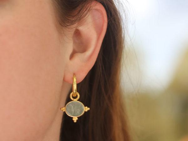 "Elizabeth Locke Smoke Venetian Glass Intaglio ""Grifo"" With Three Gold Triads On Thin Bezel Earring Charms"