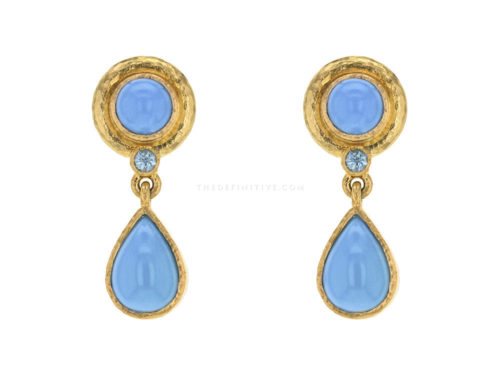 Elizabeth Locke Round & Pear Shape Turquoise Drop Earrings with Blue Zircon