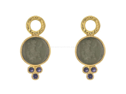 "Elizabeth Locke Smoke Venetian Glass Intaglio ""Round Cupid"" Earring Charms With Three Iolite Triads On Thin Bezel"
