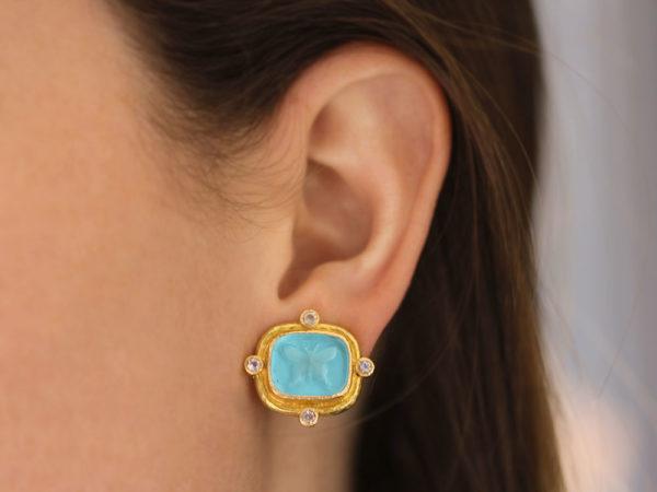 "Elizabeth Locke Swimming Pool Venetian Glass Intaglio ""Butterfly"" Earrings with Four Faceted Moonstones"