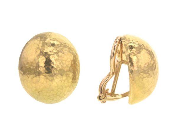 "Elizabeth Locke Vertical Oval Hammered ""Shrimp"" Gold Earrings thumbnail"