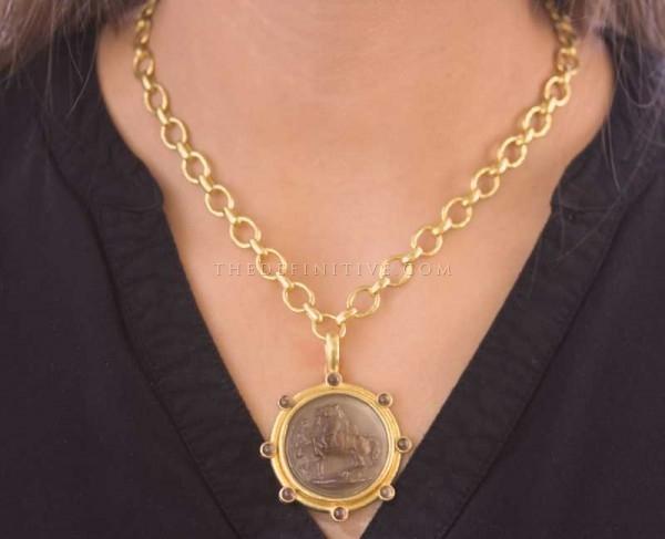 "Elizabeth Locke Bronze Venetian Glass Intaglio ""Ancient Horse"" & Cabochon Smoky Quartz Pendant"