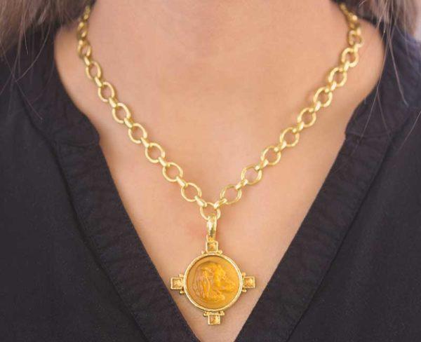 "Elizabeth Locke Light Amber Venetian Glass Intaglio '""Hound Head"" Pendant with Square Cabochon Citrines"