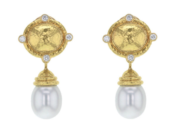 Elizabeth Locke Dome Diamond & South Sea Pearl Drop Earrings thumbnail