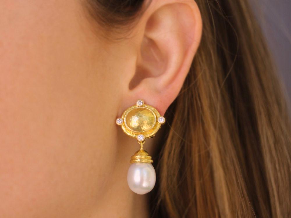 Elizabeth Locke Pearl & Diamond Dome Drop Earrings ve132
