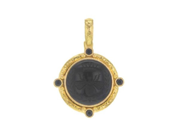 "Elizabeth Locke Onyx ""Queen Bee"" Pendant With Four Black Spinel & Gold Dots With Narrow Clip Bale thumbnail"