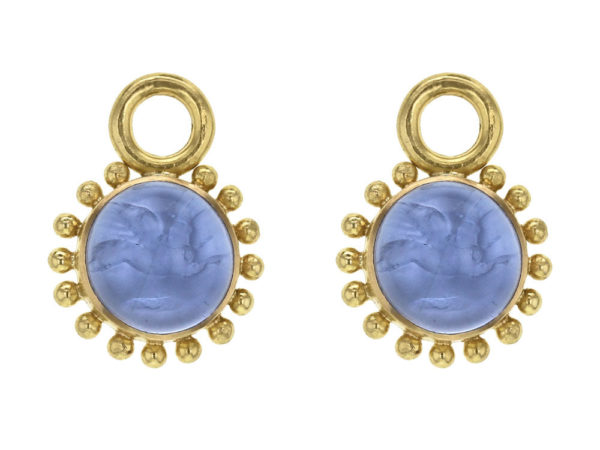 "Elizabeth Locke Cerulean Venetian Glass Intaglio ""Cabochon Tiny Griffin"" Earring Charms For Hoops thumbnail"