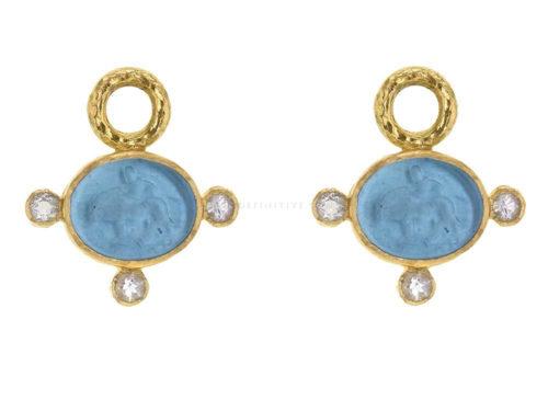 "Elizabeth Locke Swimming Pool Venetian Glass Intaglio ""Tiny Lion"" & Moonstone Earring Charms"
