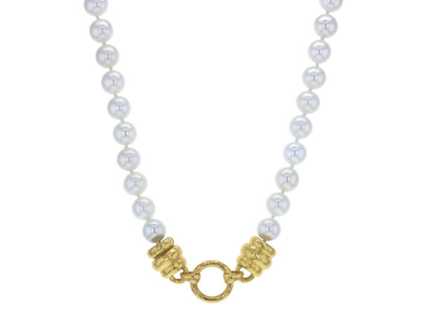 "Elizabeth Locke 17"" ""Martin"" Clasp Necklace With 8-8.5mm Fresh Water Pearls thumbnail"