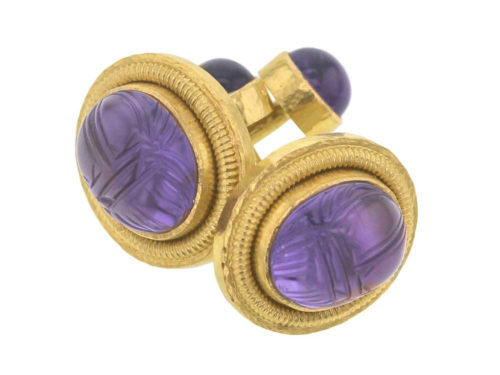 Elizabeth Locke Oval Amethyst Scarab Cufflinks