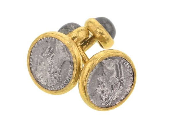 Elizabeth Locke Ancient Roman Silver Coin Cufflinks with Cabochon Labradorite thumbnail