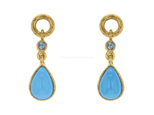Elizabeth Locke Pear Shape Turquoise Earring Charms with Blue Zircon