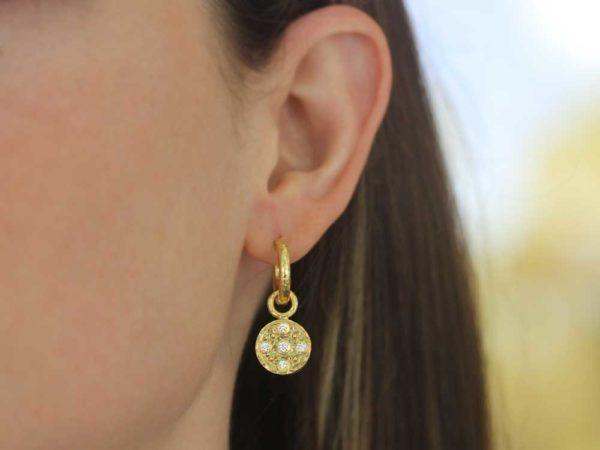 Elizabeth Locke Gold and Diamond Disk Earring Charms