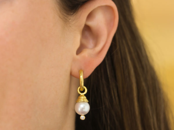 Elizabeth Locke Acorn-Capped Pearl And Diamond Earring Charms model shot #1