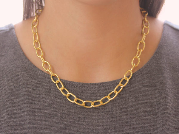 "Elizabeth Locke 17"" ""Volterra"" Hammered Small Link Necklace"
