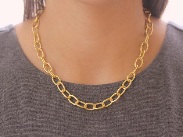 "Elizabeth Locke 17"" ""Volterra"" Hammered Small Link Necklace"