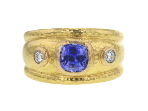 Elizabeth Locke Blue Sapphire and Diamond Cigar Band Ring