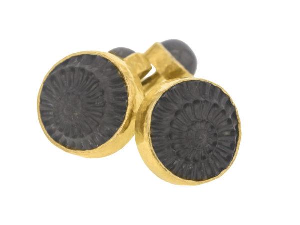 Elizabeth Locke Ammonite Cufflinks with Cabochon Labradorite