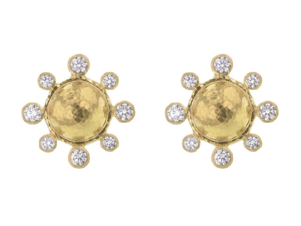 Elizabeth Locke Hammered Gold Studs Each With Surrounding Diamonds and Butterfly Back thumbnail