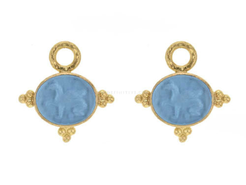Elizabeth Locke Swimming Pool Venetian Glass Intaglio 'Grifo' With Three Gold Triads on Thin Bezel Earring Charms