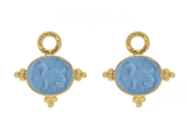 Elizabeth Locke Swimming Pool Venetian Glass Intaglio 'Grifo' With Three Gold Triads on Thin Bezel Earring Charms thumbnail