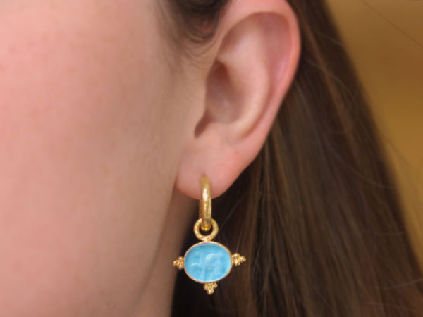 "Elizabeth Locke Swimming Pool Venetian Glass Intaglio ""Grifo"" Earring Charms With Three Gold Triads on Thin Bezel"