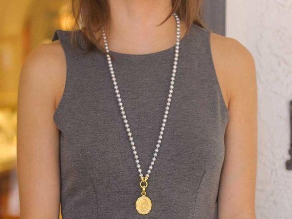 "Elizabeth Locke Gold ""Crane"" Pendant with Diamonds and Flat-Rimmed Bezel model shot #2"