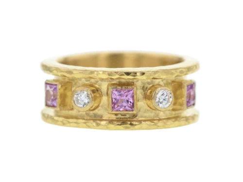 Elizabeth Locke Princess-cut Pink Sapphires & Round Diamond Cigar Band
