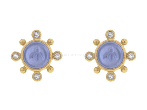 "Elizabeth Locke Cerulean Venetian Glass Intaglio ""Tiny Bee"" Stud Earrings with Faceted Moonstone"