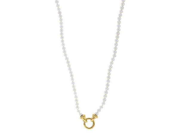 "Elizabeth Locke 35"" ""Francesca"" Clasp Necklace With 4mm White Pearls model shot #2"