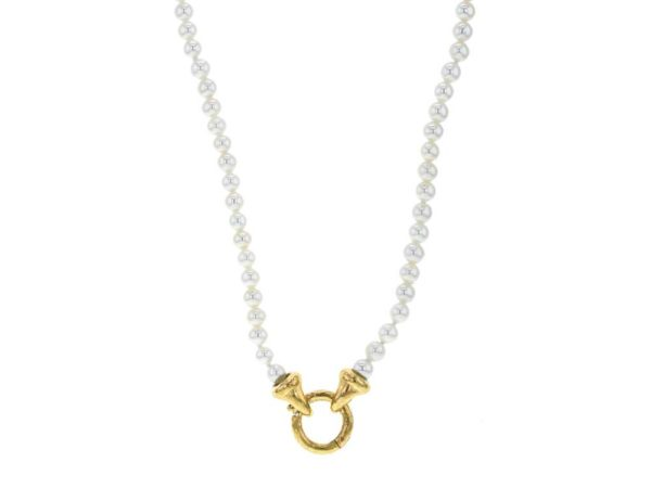 """Elizabeth Locke 35"""" """"Francesca"""" Clasp Necklace With 4mm White Pearls thumbnail"""