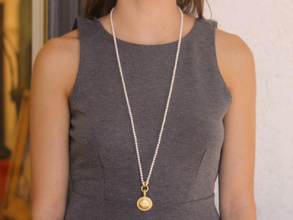 "Elizabeth Locke 35"" ""Francesca"" Clasp Necklace With 4mm White Pearls"