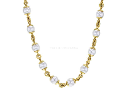 Elizabeth Locke 17″ 8-8.5mm Akoya Pearl And Gold Link Necklace With Circle Clasp Necklace