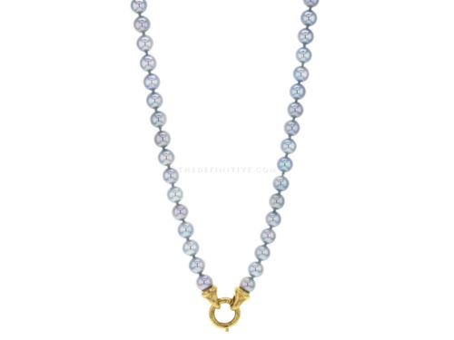 "Elizabeth Locke 30″ ""Francesca"" Clasp Necklace With 6.5-7mm Akoya Pearls"