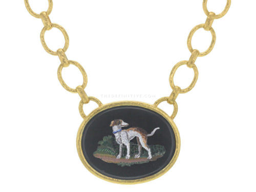"Elizabeth Locke Horizontal Oval Horizontal 19th Century Micromosaic ""Dog"" on ""Positano"" Gold Link Necklace"