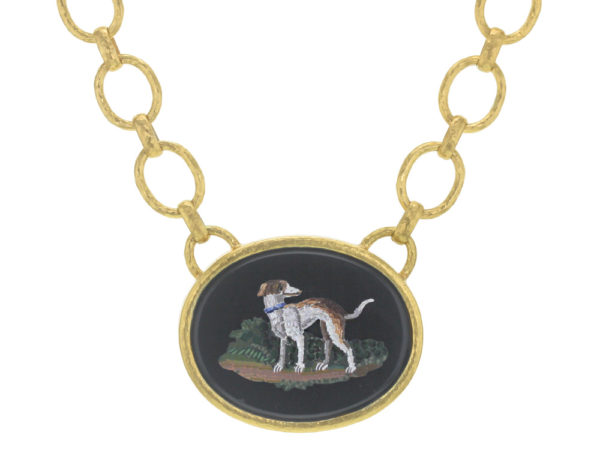 "Elizabeth Locke Horizontal Oval Horizontal 19th Century Micromosaic ""Dog"" on ""Positano"" Gold Link Necklace thumbnail"